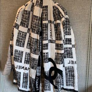 Chanel shawl scarf with logo cashmere silk